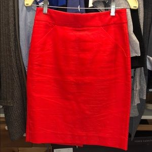 """J CREW """"The Pencil Skirt"""", Red, Size 00"""